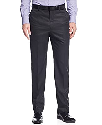 Calvin Klein Slim Fit Charcoal Herringbone Flat Front New Men's Dress Pants