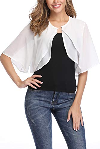 Donnalla Women Short Sleeve Shrug Cardigan Open Front Chiffon Sheer Bolero Jacket Shrugs(White,Size L)