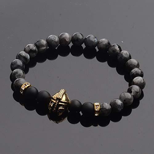 Hebel Natural Mens Womens Helmet Buddha Spartan Hamsa Lava Stone Beads Bracelets 8MM   Model BRCLT - 30762  