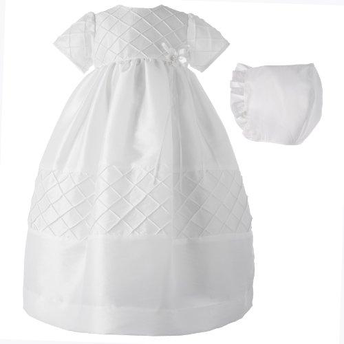 Lauren Madison baby girl Christening Baptism Special occasion Newborn Taffeta dress gown , White, 0-3 Months (Gowns Designer Christening)