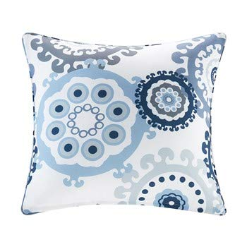Laguna Printed Medallion 3M Scotchgard Outdoor Simple Cover Throw Pillow, Global Inspired Medallion Fashion Square Decorative Pillow, 20X20, Indigo/Blue