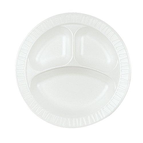 Dart 10CPWQR Laminated Foam Dinnerware, Plate, 3-Comp, 10 1/4