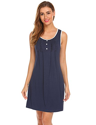 Hotouch Womens Cotton Nightgown  Short Knit Sleep Gowns A-navy Medium