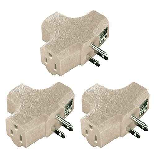 (3 pack) Uninex T-shape 3 Way Outlet Heavy Duty Grounded Wall Plug Tap Adapter Beige