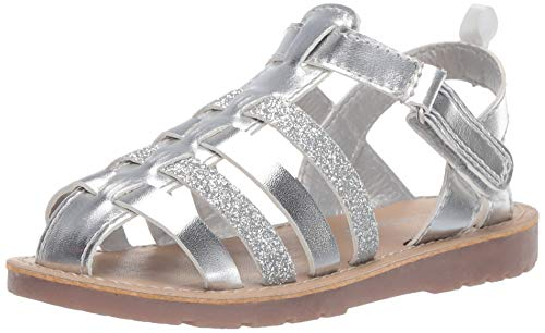 carter's Girls' Evonne Fisherman Dress Sandal, Silver, 7 M US Toddler