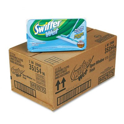 Swiffer 35154 Open Window Fresh Scent Regular Sweeper Implement Disposable Wet Cloth Refills (Case of 12 Boxes, 12 Refills per Box)