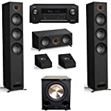 Jamo Studio Series 3.1.2 Black Home Theater System with S 809 Towers and Denon AVR-X3400H Receiver