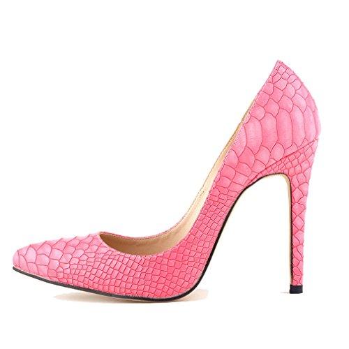 Boca Mujer Xianshu Moda del Rosa Tacón Alto Baja Bombas Pie Dedo para Cerrado Zapatos de EtqSrnWqZ