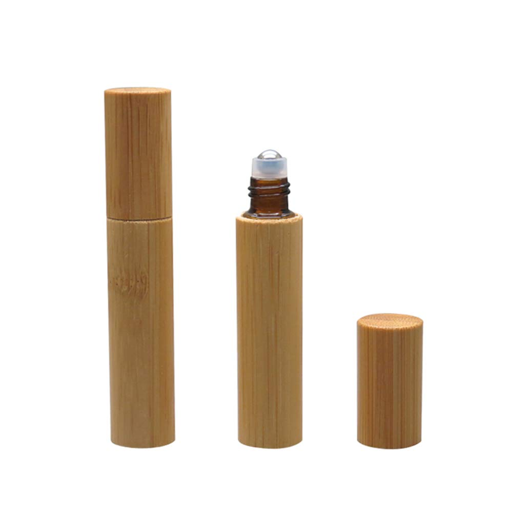Hustar 2 Pcs 10ml Empty Bamboo Glass Roller Bottles Roll on Refillable Bottles for Fragrance Essential Oils