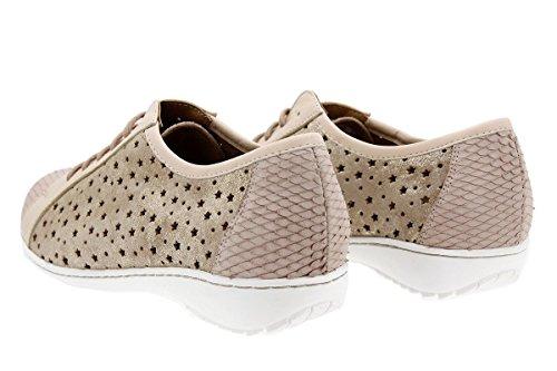 Calzado mujer confort de piel Piesanto 1752 Zapato Cordón cómodo ancho Nude