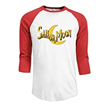 Mans Sailor Moon Logo 3/4 Sleeve Cotton Baseball T-Shirts
