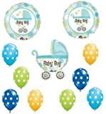 IT'S A BOY Carriage POLKA DOT Baby SHOWER Balloons SET