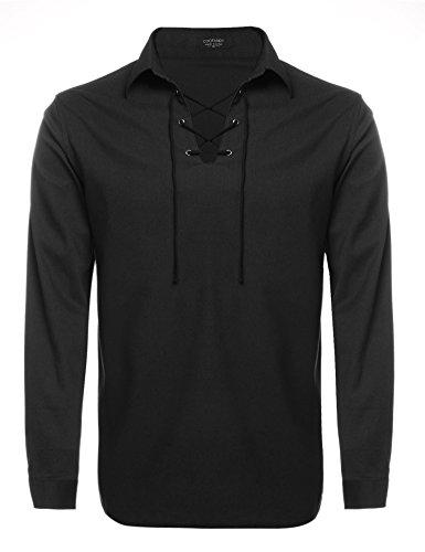 Coofandy Mens Scottish Jacobite Ghillie Kilt Shirt Casual Long Sleeve Lace up Shirt,Black,X Large, Black, X-Large
