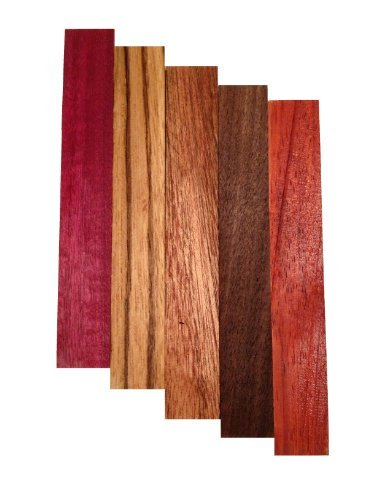 Pen Blank 5 Pack - Purple Heart, Zebrawood, Sapele, Walnut, Padauk