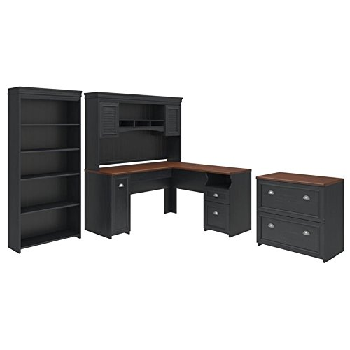 Bush Furniture Fairview L Shaped Desk with Hutch, Bookcase and Lateral File Cabinet