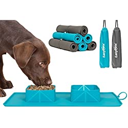 EasyPets Roll 'N' Go Fold Down Silicone Pet Bowls & Feeding Mat In One Piece. (Turquoise)