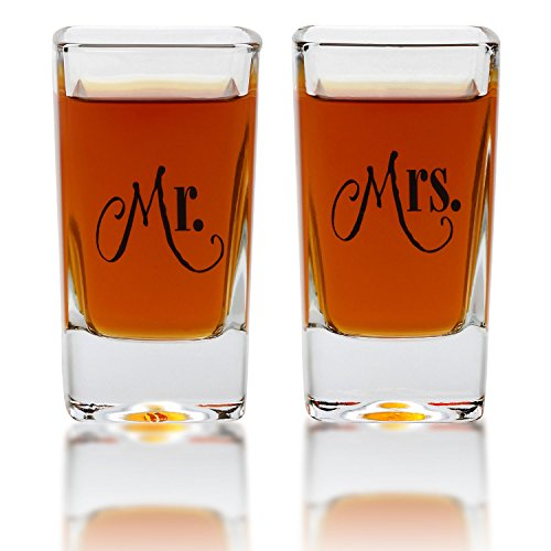 Mr. & Mrs Tall Shot Glass Set - For Engagement, Wedding, Anniversary, House Warming, Hostess Gift - 2.8 Ounce