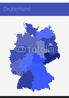 Map Germany German Federal States | Blue (71535729), Aluminium ...