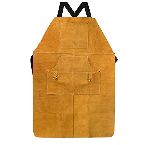 Protect Leather Work Shop Apron with 6 Tool Pockets - Heat & Flame Resistant Heavy Duty Welding Apron, 24'' x 36'', Adjustable Comfortable (Size : 90cm60cm) by SJ-Protect gloves