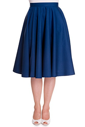 Hell Bunny Plus Retro 60's Office Lady Basic Swing Circle Skirt (3XL, Navy)