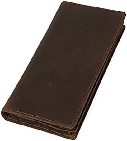 Tiding Mens Women Vintage Genuine Leather Long Clip Bifold Wallet Card Holder Brown
