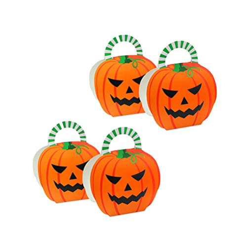 TOYANDONA 10pcs Pumpkin Candy Box Paper Cartoon Gift Wrapping Bag with Handle for Halloween Theme Party Baby Shower Birthday Gift -