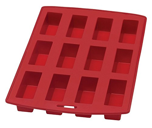 Rose Levy Beranbaum's Marvelous Mini Cake Pan, European-Grade Silicone, Red, Makes 12 (3.125 x 1.125 x 1.125-Inch) Mini Cakes (Pans Cake Silicon)