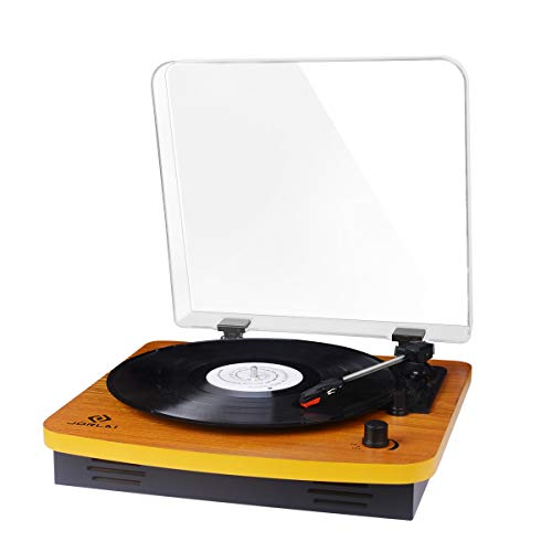 JORLAI Record Player, Turntables for Vinyl Records, 33 45 78 RPM Record Player with Speakers, Vinyl to MP3 Recording Capable, RCA Output, 3.5mm AUX Input, Volume Control - Wood by JORLAI