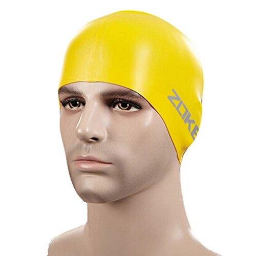100%silicone étanche Cache-oreilles cheveux professionnel Bonnet de bain,Jaune