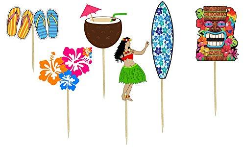 Luau Cake Decorations (Luau Theme Cupcake Toppers)