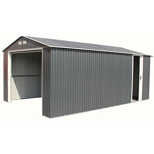 Imperial 12 ft. x 20 ft. Metal Garage Shed in Dark Grey with White Trim