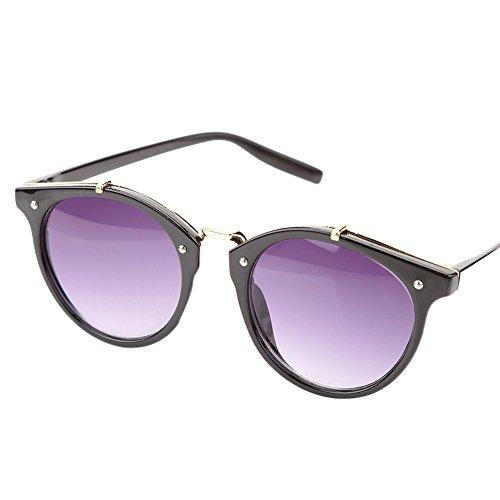 de Grey Mujer Gafas de Lens Lens Gato para amp; Ojo UV400 Gafas Frame con Alomejor Marco Frame Redondas de de Sol y Black Black Grey amp; Hombre Sol vYx1ZwCq