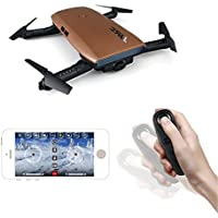 JJRC H47 RC Drone with 720 HD Camera Elfie Foldable Selfie Pocket Helicopter Gravity Sensor Mode One hand Remote Control Mini Quadcopter (Brown)
