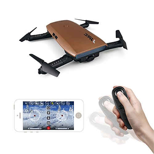 JJRC H47 Auto-folding Elfie WIFI Foldable Pocket Drone with 720P HD Camera One hand Remote Control Multirotors 360 Degrees Rotation Mini Quadcopter (Brown)