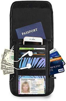 熱帯ヤシの木 パスポートホルダー セキュリティケース パスポートケース スキミング防止 首下げ トラベルポーチ ネックホルダー 貴重品入れ カードバッグ スマホ 多機能収納ポケット 防水 軽量 海外旅行 出張 ビジネス