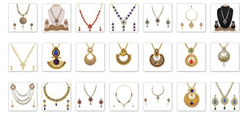 VVS Jewellers Fast Shipping Indian Bollywood Big Diwali Sale & Karva Chauth Combo 21 Pcs Necklace Set by VVS Jewellers