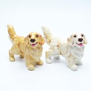 Golden Retriever Dog Ceramic Figurine Salt Pepper Shaker C00004 Ceramic Handmade Dog Lover Gift Collectible Home Decor Art and Crafts