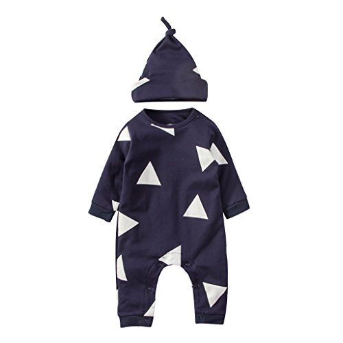 Baby Rompers Newborn Infant Romper Button Long Sleeve Basic Romper Coveralls For Baby Boy Girl,Navy Blue,0-3month