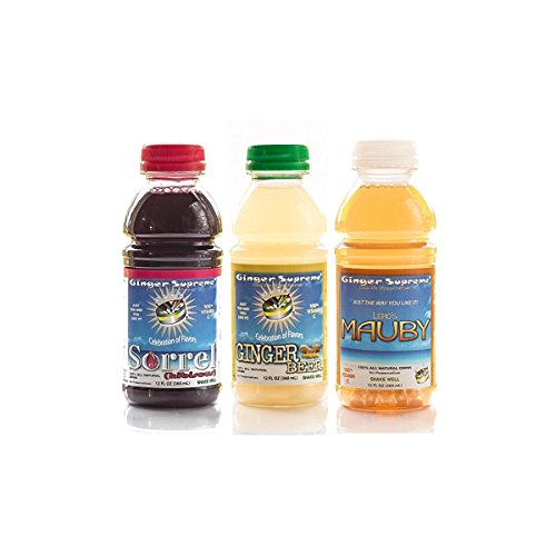 Ginger Supreme Caribbean Variety (Pack of 6), Caribbean Ginger Beer, Caribbean Sorrel (Hibiscus) Tea, Caribbean Lemo's Mauby