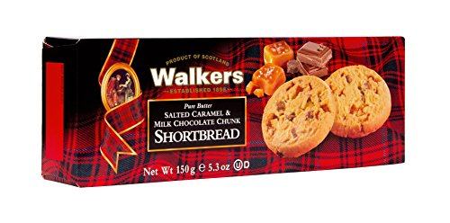 Walkers Shortbread Pure Butter Salted Caramel & Milk Chocolate Chunk, Traditional Pure Butter Shortbread Cookies with Caramel and Chocolate, 5.3 Ounce Box