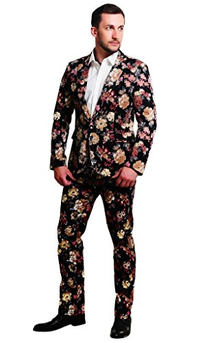 MOGU Mens 1 Button Allover Floral Cotton Blazer Suits US Size 42(Asian 5XL) Pink