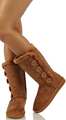 Aling33 Womens Aling33 Faux Suede Buckle Comfort Mid Calf With Lined Faux Fur 6.5 43VAZ