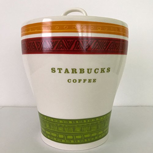Starbucks Red Green Orange Stripe Ceramic Coffee Tea Cookie Canister