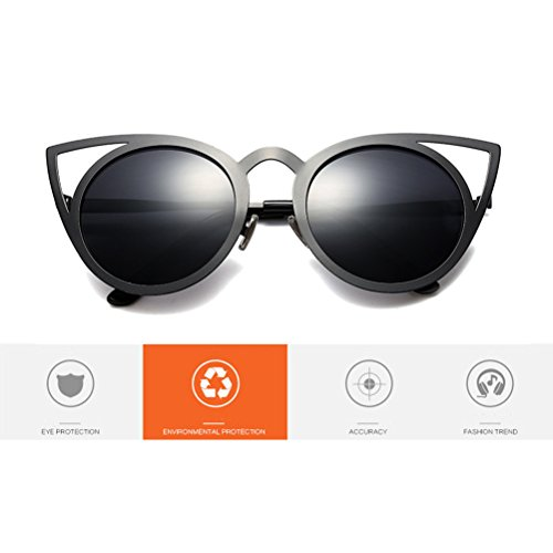 Zhhlaixing Mode Womens Sunglasses Femmes Ancien Rétro Cercle Rond Armature en Métal Oreilles de Chat Yeux UV400 Protection Des Lunettes de Soleil
