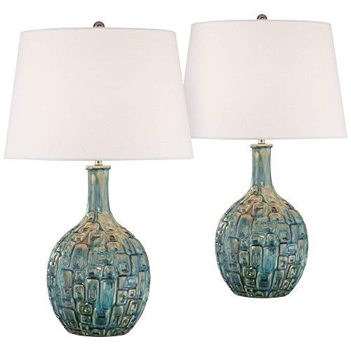 Mid Century Modern Table Lamps Set of 2 Ceramic Teal Glaze Handcrafted White Empire Shade for Living Room Bedroom – 360 Lighting