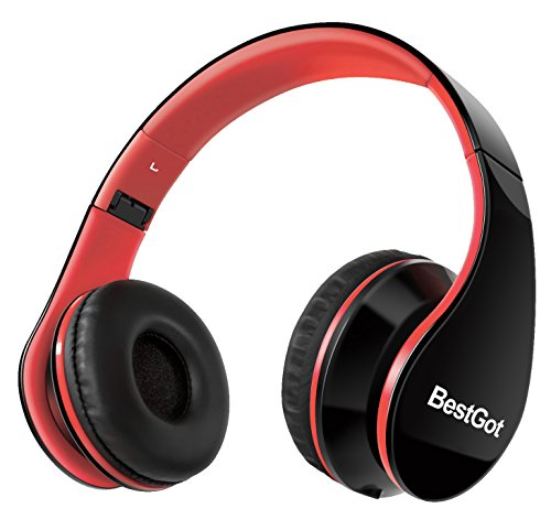 Headphones for Kids Adults with Microphone Volume Control with Cloth Bag and Removable Audio Cable Black&Red