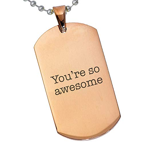 Photo Necklace Awesome - Tungsten King Stainless Steel Silver Gold Black Rose Gold Personalized Gift Rose Awesome Quote Special Message Photo Engraving Customizable Pendant Dog Tags 24'' Ball Chains