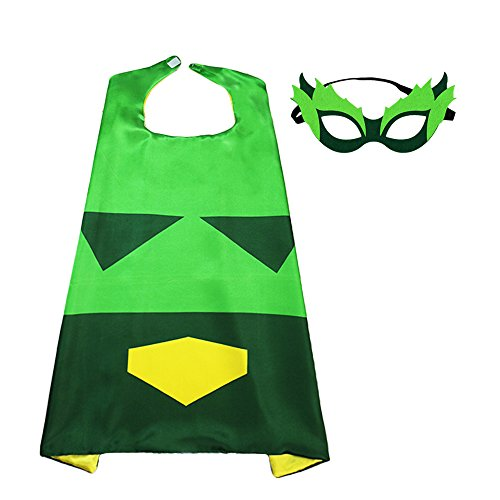 Flying Childhood Green Superhero Cape and Mask Set for Kids-Boys Cosplay Costume Party Supplies ()