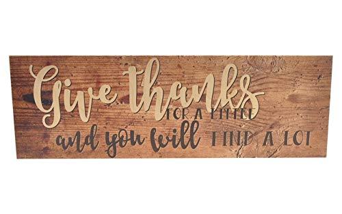 CELYCASY - Cartel de Madera con Texto en inglés Give Thanks ...