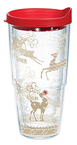 Tervis 1142412 Traditional Tumbler with Lid, On Comet and Cupid, Donner and Blitzen On Dasher, Dancer, Prancer, Vixen and Rudolph too All of Santa's reindeer make this design a holiday treat. , Red ()